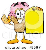 Ice Cream Cone Mascot Cartoon Character Holding A Yellow Sales Price Tag