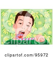 Royalty Free RF Clipart Illustration Of A Little Boy Licking A Candy Cane