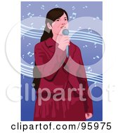 Royalty Free RF Clipart Illustration Of A Performing Female Singer 1