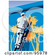 Royalty Free RF Clipart Illustration Of A Mural Painter 1