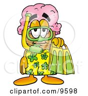 Clipart Picture Of An Ice Cream Cone Mascot Cartoon Character In Green And Yellow Snorkel Gear by Toons4Biz