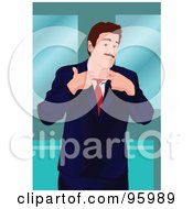 Royalty Free RF Clipart Illustration Of A Corporate Business Man Stretching Out His Tie