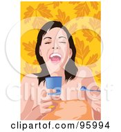 Royalty Free RF Clipart Illustration Of A Woman Eating Ice Cream 1 by mayawizard101
