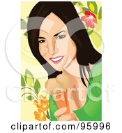 Royalty Free RF Clipart Illustration Of A Woman Enjoying An Ice Cream Cone 1 by mayawizard101