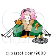 Ice Cream Cone Mascot Cartoon Character Camping With A Tent And Fire