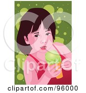Royalty Free RF Clipart Illustration Of A Little Girl Enjoying An Ice Cream Cone 6 by mayawizard101