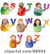 Royalty Free RF Clipart Illustration Of A Digital Collage Of Alphabet People From S Through Z by Prawny