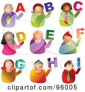 Royalty Free RF Clipart Illustration Of A Digital Collage Of Alphabet People From A Through I by Prawny
