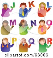 Royalty Free RF Clipart Illustration Of A Digital Collage Of Alphabet People From J Through R