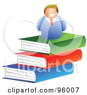 Royalty Free RF Clipart Illustration Of A Happy Man On Top Of A Book Pile by Prawny