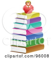 Royalty Free RF Clipart Illustration Of A Happy Man On Top Of A Big Book Pile by Prawny