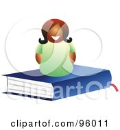 Royalty Free RF Clipart Illustration Of A Happy Woman On Top Of A Closed Blue Text Book
