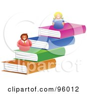 Royalty Free RF Clipart Illustration Of A Happy Man And Woman On Top Of Steps Of Books