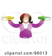 Royalty Free RF Clipart Illustration Of A Happy Woman Holding Out A Book In Each Hand
