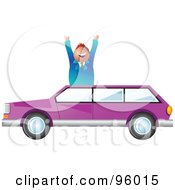 Royalty Free RF Clipart Illustration Of A Happy Salesman Over A Purple Station Wagon