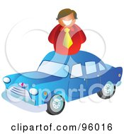 Royalty Free RF Clipart Illustration Of A Happy Salesman Over A Blue Car