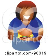 Royalty Free RF Clipart Illustration Of A Faceless Lady Holding A Cheeseburger by Prawny