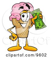 Ice Cream Cone Mascot Cartoon Character Holding A Dollar Bill