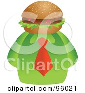 Royalty Free RF Clipart Illustration Of A Businessman With A Hamburger Face by Prawny