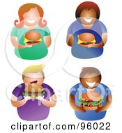 Royalty Free RF Clipart Illustration Of A Digital Collage Of Faceless Men And Women With Hamburgers by Prawny