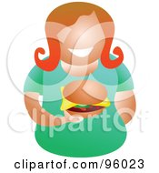 Royalty Free RF Clipart Illustration Of A Faceless Woman Holding A Cheeseburger by Prawny
