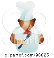 Royalty Free RF Clipart Illustration Of A Faceless Male Chef Holding A Spoon by Prawny