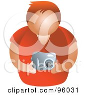 Royalty Free RF Clipart Illustration Of A Faceless Man Holding A Camera by Prawny