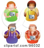 Royalty Free RF Clipart Illustration Of A Digital Collage Of Four Men And Women Holding Cameras by Prawny