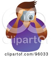 Royalty Free RF Clipart Illustration Of A Faceless Man Taking A Picture With A Camera by Prawny