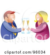 Happy Man And Woman Making A Toast With Bubbly