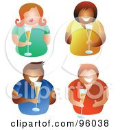 Royalty Free RF Clipart Illustration Of A Digital Collage Of Four Men And Women Holding Glasses Of Champagne Bubbly