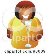 Royalty Free RF Clipart Illustration Of A Black Woman Holding A Glass Of Champagne Bubbly