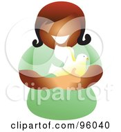 Royalty Free RF Clipart Illustration Of A Faceless Christian Woman Holding A Dove