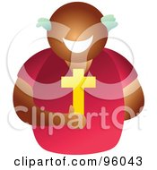 Royalty Free RF Clipart Illustration Of A Faceless Christian Man Holding A Cross