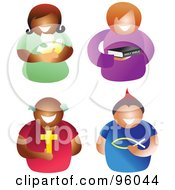 Royalty Free RF Clipart Illustration Of A Digital Collage Of Happy Christian Men And Women
