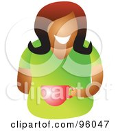 Royalty Free RF Clipart Illustration Of A Faceless Black Or Hispanic Woman Sipping From A Coffee Cup