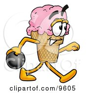Clipart Picture Of An Ice Cream Cone Mascot Cartoon Character Holding A Bowling Ball