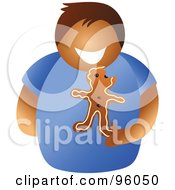 Royalty Free RF Clipart Illustration Of A Faceless Man Holding A Gingerbread Cookie