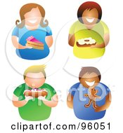 Royalty Free RF Clipart Illustration Of A Digital Collage Of Men And Women Holding Desserts