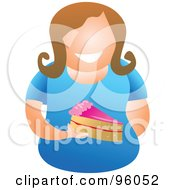 Royalty Free RF Clipart Illustration Of A Faceless Woman Holding A Slice Of Cake