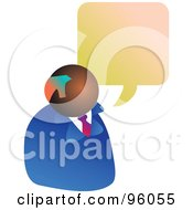 Royalty Free RF Clipart Illustration Of A Black Businessman Under A Word Balloon
