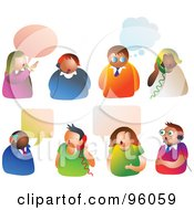 Royalty Free RF Clipart Illustration Of A Digital Collage Of People With Thoght And Word Balloons Headsets And Telephones