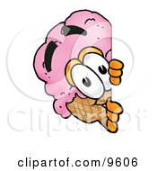 Ice Cream Cone Mascot Cartoon Character Peeking Around A Corner