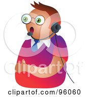 Royalty Free RF Clipart Illustration Of A Customer Service Man Wearing A Headset