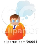 Royalty Free RF Clipart Illustration Of A Brunette Man Under A Blue Thought Cloud