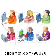 Royalty Free RF Clipart Illustration Of A Digital Collage Of Businesswomen And Businessmen Using Computers by Prawny