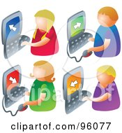 Royalty Free RF Clipart Illustration Of A Digital Collage Of Four Faceless Kids Using Computers by Prawny