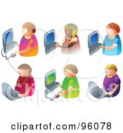 Royalty Free RF Clipart Illustration Of A Digital Collage Of Six Faceless Kids Using Computers by Prawny
