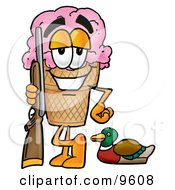 Clipart Picture Of An Ice Cream Cone Mascot Cartoon Character Duck Hunting Standing With A Rifle And Duck by Toons4Biz