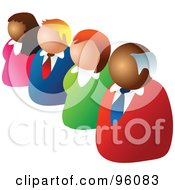 Royalty Free RF Clipart Illustration Of A Diagonal Line Of Four Business People